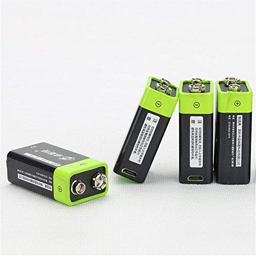 solesu 9V Prismatic Batteria ricaricabile ai polimeri di litio ricaricabile con USB cavo micro USB integrato (Nero + Verde)