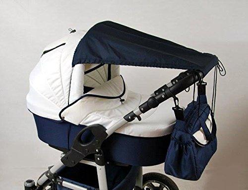 Babylux Sonnenschutz SONNENSEGEL für Kinderwagen Buggy UV Schutz UNI (Marine Blau)