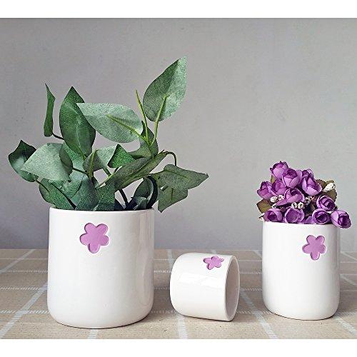 Better-way en céramique en forme de fleur Motif floral Plante à fleurs Cactus à nourriture Orchidée Pot de fleurs Dekohaken24 Boîtes Bol Pot de fleurs, Céramique, violet foncé, Pack Of 3