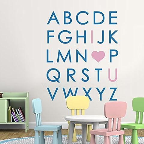 Alphabet Wandtattoos 26 Alphabet Letters Lehrer-Raum-Wand-Kunst A-Z Letters Ich liebe dich Wandaufkleber Geeignet für Baby-Kinderzimmer Kindergarten Wandkings Wandsticker (Large,Ich liebe dich: Medium Blue; andere Buchstaben: Soft Pink)