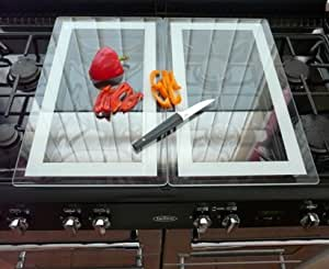 Set of 2 Glass Stove / Hob Covers- Worktop Saver- Chopping