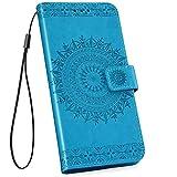 Ysimee kompatibel mit Samsung Galaxy S10 Hülle Handy Schutzhülle [Pu Leder] [Standfunktion] [Kartenfach] [Magnetverschluss] Schlanke Leder Brieftasche Flip Case Protective Tasche, Totem- Blu