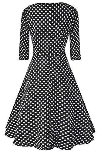 Babyonlinedress Robe de soirée/Cocktail Courte à Pois Rétro Vintage année 50 Style Audrey Hepburn Rockabilly Swing avec 3/4 Manches Noir