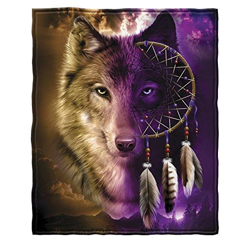 YISUMEI 80x120 cm Poster oder Leinwand-Bild gespannt Keilrahmen Malerei Canvas Gemälde Wolf Traumfänger Fleece Canvas Fleece