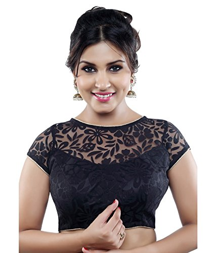 Saree Blouse for women Minimall women Black Brasso & Net Readymade Saree Blouse  available at amazon for Rs.249