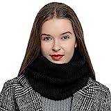 DonDon Warmer und weicher Damen Winter Schlauchschal Rundschal Strickmuster schwarz