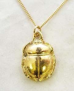 Collier Égyptien Scarabée (plaqué or) avec Boîte à Cadeau