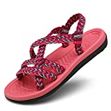 EAST LANDER Flat Sandals for Women Braided Handmade Strap Arch Support Summer Beach