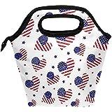 Amerikanische Flagge Mit Herzen Isolierte Lunchpaket, Patriotische Usa Star Und Streifen Tote Handtasche Lunchbox Lebensmittelbehälter Kühler Warme Tasche für Erwachsene Im Freien Schulbüro