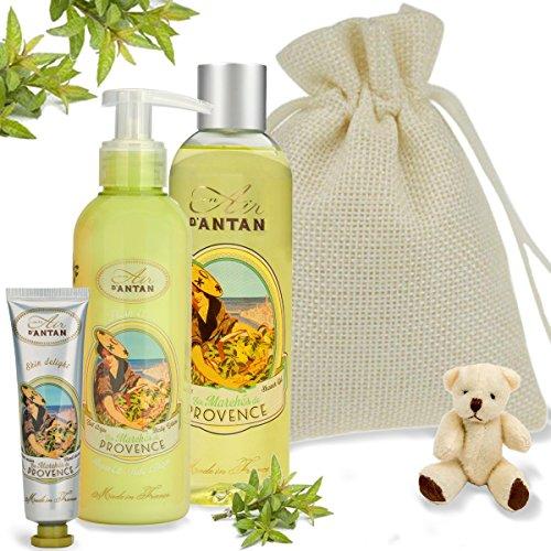 (Baby Dusche Geschenk-Set Provence (1Dusche Gel 250ml, 1Body Lotion 200ml, 1Hand Creme 25ml)–Eisenkraut, Zitrone und Bergamotte. In einer natürlichen Jute Tasche und einem niedlichen Miniatur-Teddybär–eine perfekte Geschenkidee für Mama zu werden)