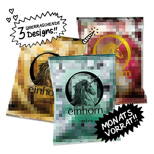 einhorn Kondome - 21 Stück - Monatsration - 3 Überraschungsdesigns + Extras - Vegan, Hormonfrei, Feucht, Geprüft
