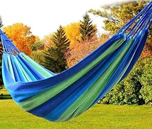 Outdoor Camping Hängematte, Techcode Portable 2 Person Outdoor Camping Garten Strand Reise Leinwand Hängematte (Blau) (Tragbare Hängematte Xl)