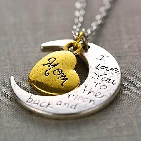 iDealhere(TM) Te Quiero la y Luna Corazón Colgante Familiar Collar Gargantilla Cadena Aleación (mamá)