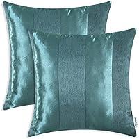 [Patrocinado]CaliTime Pack de 2 Fundas de Cojines Fundas para Fundas para Almohadas Fundas para sofá de Banco Decoración para el hogar, Moderna a Rayas, 50cm x 50cm, Verde Azulado