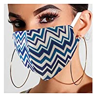 Fstrend leopard Face Masks Reusable Black Sexy Face Covering Cotton Breathable Washable Party Nightclub Adjustable Masks for Women and Girls (Blue curved stripes)