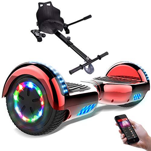 RCB Hoverboard électrique Auto-Equilibré Gyropode 6,5 Pouces avec Les Roues Clignotantes + Hoverkart Accesoires pour Scooter Cadeau pour Enfants et Ados UL2272