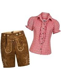 Damen Set Trachten Lederhose Shorts hellbraun kurz + Träger + Trachtenbluse Ronda kariert versch. Farben, Marke Gaudi-Leathers