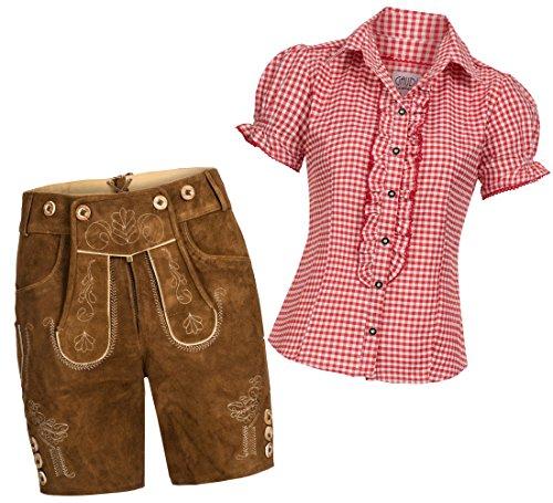 Damen Set Trachten Lederhose Shorts hellbraun kurz + Träger + Trachtenbluse Ronda 46 Rot Weiß Kariert 44