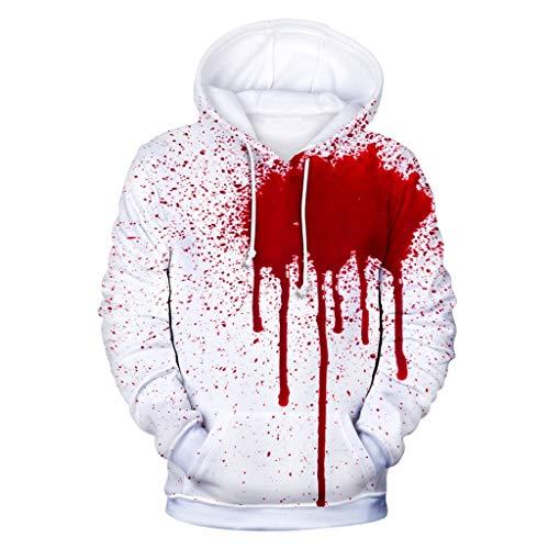 Halloween Horror Night Unisex Couple Hoodie Blutbeflecktes Top Langarm T Shirt LäSsige Blusen Mit Tasche,XXL-4XL (Halloween Horror Nights 24-t-shirts)