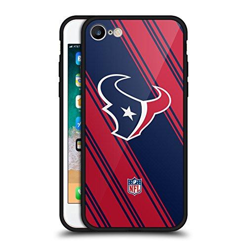 Head Case Designs Offizielle NFL Streifen 2017/18 Houston Texans Schwarze Hybride Glas Rueckseiten Huelle kompatibel mit iPhone 7 / iPhone 8