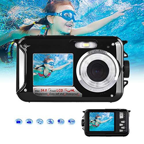 Unterwasserkamera Full HD 1080P zum Schnorcheln 24.0 MP Wasserdicht Kamera 2.7 Inch TFT-LCD Dual Screen Digitalkamera Wasserdichte (SCHWARZ)