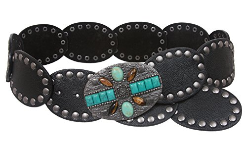 "2 3 4 ""(70 mm) de ancho Boho enlace de disco Oval Disco piel Fashion  cinturón 8eda4c3a54c9"