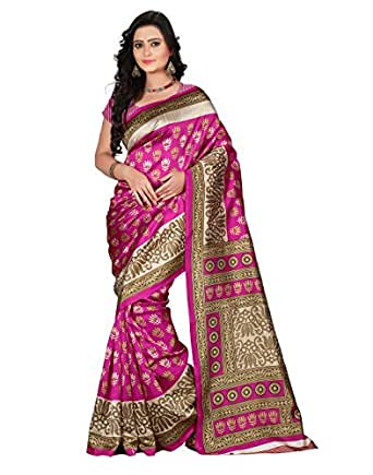 041c08400 e-VASTRAM Women s Art Mysore Printed Silk Saree(NS9B Pink)  Amazon ...