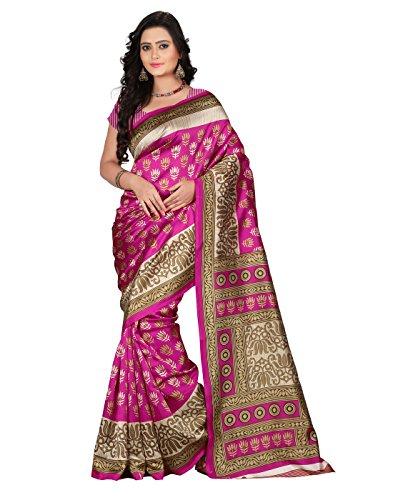 e-VASTRAM Women\'s Art Mysore Printed Silk Saree(NS9B_Pink)