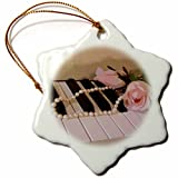 3dRose orn_35211_1 Pink Roses on Piano Keys Snowflake Porcelain Ornament, 3-Inch