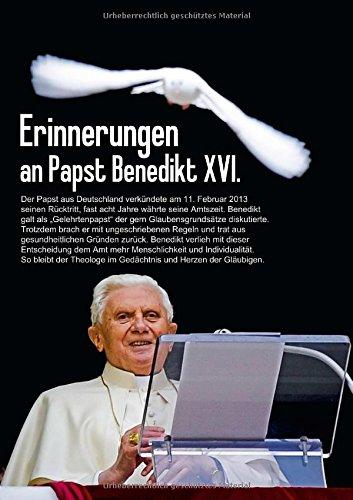 Erinnerungen an Papst Benedikt XVI. (Posterbuch DIN A4 hoch): Der Kirchenvater aus Deutschland (Posterbuch, 14 Seiten)