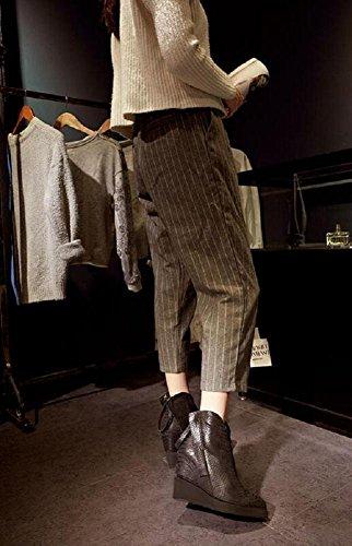 YYH Double fermeture à glissière de personnalité pente avec cheville bottes Plus velours motif Serpentine chaussures femme cuir véritable augmenté Gray