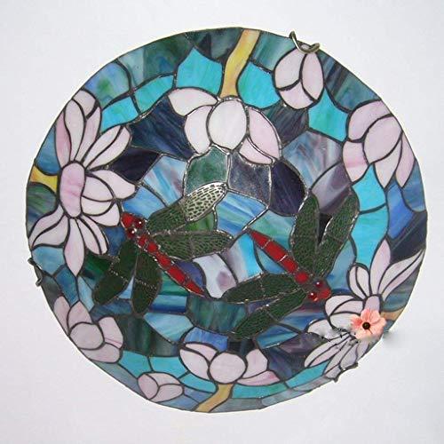 �hrtes kreatives Tiffany-Lampen-Gang-Licht-Portal-Licht-Korridor beleuchtet Badezimmer-Balkon-16-Zoll-Lotus-Libellen-Buntglas-Augen-Schutz-vertikale Tischlampe ()