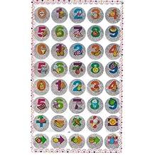 10 hojas de Números Postre Fruta linda Glittered pegatinas (total 400 pegatinas)