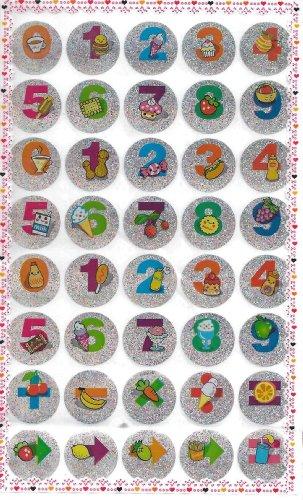 10 Blatt von Nette Frucht Nachtisch Nummern Glitzerbedeckten Aufkleber (400 Aufkleber)