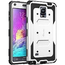 Carcasa Samsung Galaxy Note 4 - i-Blason Armorbox Funda hibrida de doble capa [Para Samsung Galaxy Note 4 SM-N910S / SM-N910C] con tapa frontal y protector de pantalla / resistente a los golpes (Blanco)