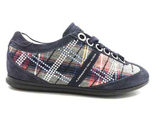 alessandro-dellacqua-sneakers-grigio-camoscio-tessuto-40-eu-blu