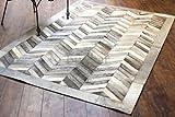 Bunkar:Indischen Handgearbeitet Designer 100% Leder Kuhfell Teppiche - Farbe Grau - Stil CHEVRON - Größe 90cm x 150cm