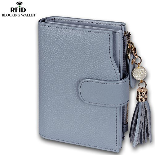 Befen Women's Full Grain Leather RFID Blocking Multi Card Organizer Wallet Wristlet with Zipper Pockets and Wrist Strap for iPhone 7/6s/6 Plus - Black Sky Blue RFID Bifold Wallet