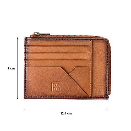 Bustina portamonete documenti carte di credito uomo in pelle con lampo DUDU Marrone chiaro