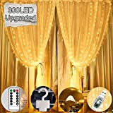 Curtain Lights,Upgraded 300 Bigger LED USB Plug in Window Fairy String Lights with 8 Modes Remote Control Waterproof Copper Light for Outdoor Indoor Wedding Party Garden Bedroom Decoration(Warm White)
