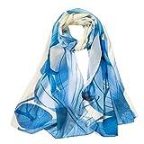 Xmiral Damen Schal Mode Blumendrucken lange weiche Wrap Elegante glamouröse Schal Schal Schals(Blau)