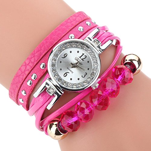 HUIHUI Uhren Damen, Geflochten Armbanduhren Günstige Uhren Wasserdicht Casual Analoge Quarz Uhr Armband Coole Uhren Lederarmband Mädchen Frau Uhr (Hot Rosa)