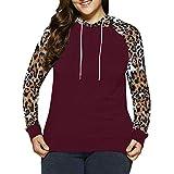 Honestyi Große Größe Frauen Leopard Kapuzenpullover Pullover Shirt Tops Bluse(Wein Rot,XXL)