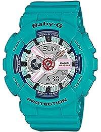 Baby-G Reloj de mujer de cuarzo con Esfera Analógica Gris–Pantalla Digital y Correa de Resina color verde ba-110sn-3aer
