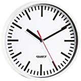 PEARL Wanduhren: Quarz-Bahnhofsuhr, 22,5cm Durchmesser (Quarzuhr)
