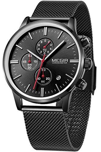 Megir uomo donna orologio nero oro argento cronografo sportivi vintage classici lusso acciaio marche orologi analogico quarzo