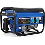EBERTH 2200 Watt Benzin Stromerzeuger (5,5 PS Benzinmotor, 4-Takt, luftgekühlt, 2x 230V, 1x 12V, Seilzugstart, Automatischer Voltregler AVR, Ölmangelsicherung, Voltmeter)