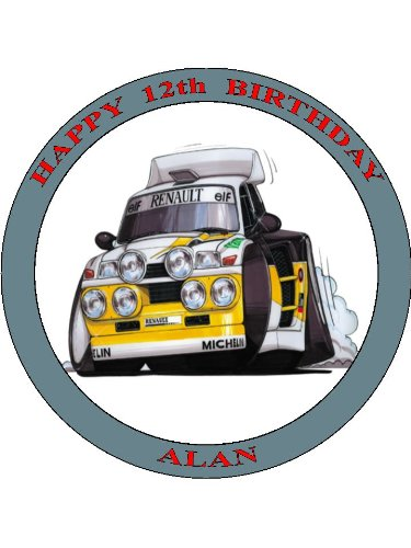 029-renault-5-supermaxi-rally-car-koolart-0029-personalised-75-circle-icing-cake-topper-any-name-age