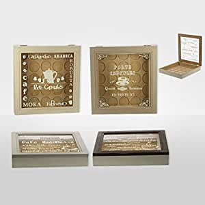 REVIMPORT - Boîte pour 25 capsules café bois avec vitre 20x26*
