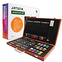 Artistik Wooden Art Set - (80 Piece) Deluxe Art Creativity Set and Professional Art Set Box for Colouring Beginners, Great Gift For Artists, Adults Teens, and Children